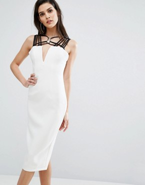 photo Neck Detail Contrast Midi Dress by The 8th Sign, color Ivory - Image 1