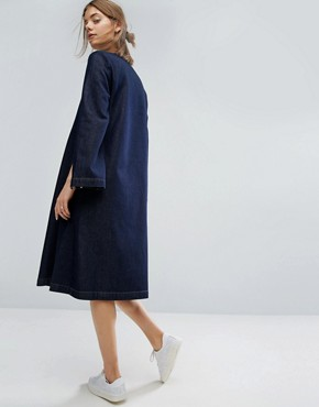 photo Square Neck Denim Midi Dress With Split Sleeve by ASOS WHITE, color Blue - Image 2