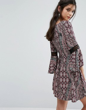photo Printed Mini Skater Dress with Crochet Insert Sleeve by Sisters of the Tribe, color  - Image 2