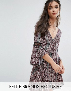 photo Printed Mini Skater Dress with Crochet Insert Sleeve by Sisters of the Tribe, color  - Image 1