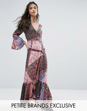 photo Patchwork Print Plunge Front Maxi Dress by Sisters of the Tribe, color  - Image 1