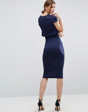 photo Crepe Fold Front T-Shirt Midi Dress by ASOS TALL, color Navy - Image 2
