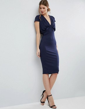 photo Crepe Fold Front T-Shirt Midi Dress by ASOS TALL, color Navy - Image 4