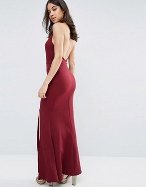 photo Halter High Neck Backless Maxi Dress With Thigh Split by Club L, color Berry - Image 2