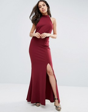 photo Halter High Neck Backless Maxi Dress With Thigh Split by Club L, color Berry - Image 1