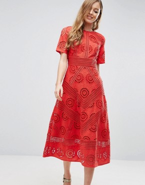 ecc006af438 Midi Dress in Broderie Fabric by ASOS PREMIUM - Red