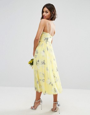 photo Rouched Midi Dress in Sunshine Floral Print by ASOS PETITE WEDDING, color Yellow - Image 2