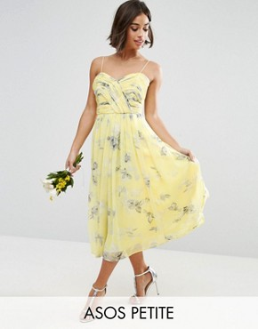 photo Rouched Midi Dress in Sunshine Floral Print by ASOS PETITE WEDDING, color Yellow - Image 1