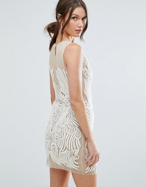 photo Placed Illusion Embroidered Mini Dress by ASOS, color Beige - Image 2