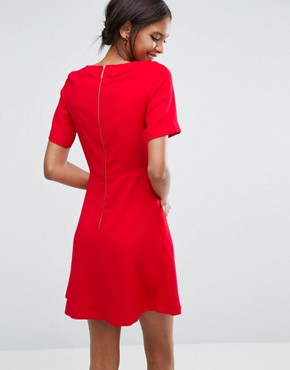 photo Short Sleeve Button Detail Dress by Closet London, color Red - Image 2