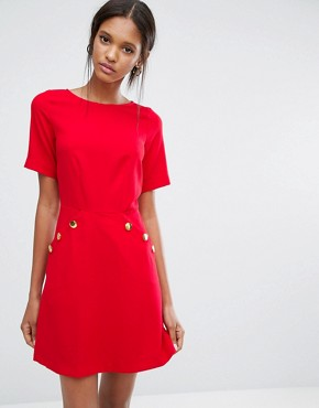 photo Short Sleeve Button Detail Dress by Closet London, color Red - Image 1