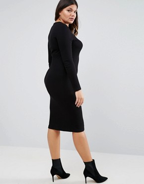 photo Midi Bodycon Dress in Rib with Long Sleeves by ASOS CURVE, color Black - Image 2