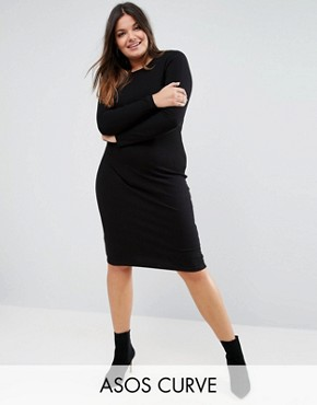 photo Midi Bodycon Dress in Rib with Long Sleeves by ASOS CURVE, color Black - Image 1