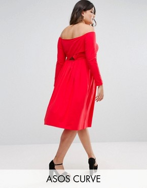 photo Wrap Back Off Shoulder Midi Dress with Long Sleeves by ASOS CURVE, color Red - Image 1
