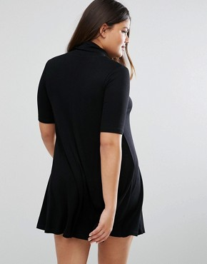 photo Rib Polo Swing Dress With Half Sleeve by ASOS CURVE, color Black - Image 2