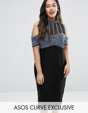photo Embellished Stripe High Neck Cold Shoulder Midi Dress by ASOS CURVE, color Black/Blue - Image 1
