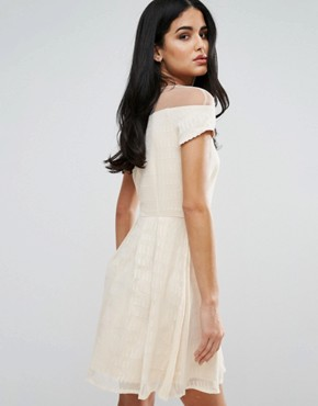 photo Skater Dress With Mesh Panel by Little Mistress, color Cream - Image 2