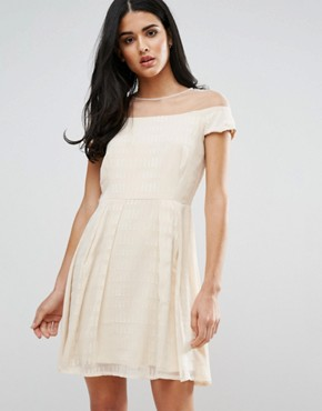 photo Skater Dress With Mesh Panel by Little Mistress, color Cream - Image 1
