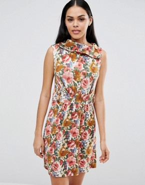 photo Floral Skater Dress by Pussycat London, color Brown - Image 1