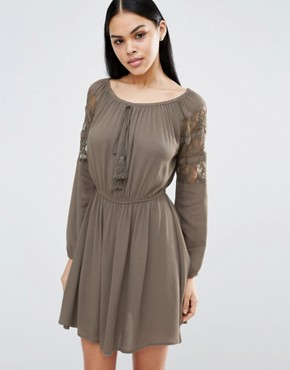 photo Skater Dress With Tie Detail And Lace Sleeves by Pussycat London, color Khaki - Image 1