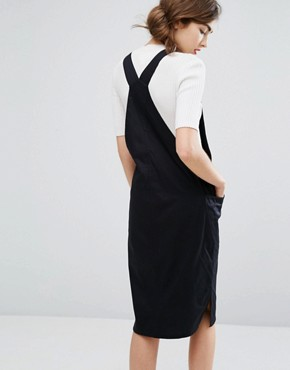 photo Organic Cotton Pinnafore Dress with Ring Pull Zip by People Tree, color Black - Image 2