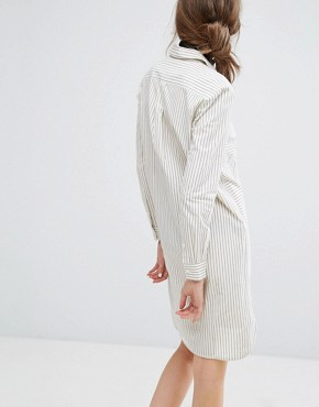 photo Hand Woven Oversized Shirt Dress In Light Stripe by People Tree, color Grey - Image 2