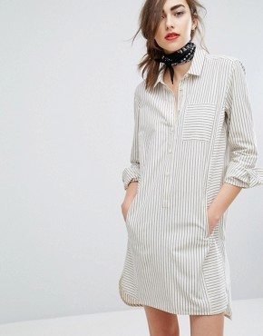 photo Hand Woven Oversized Shirt Dress In Light Stripe by People Tree, color Grey - Image 1