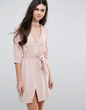 photo Belted Wrap Dress by Love & Other Things, color Pink - Image 1