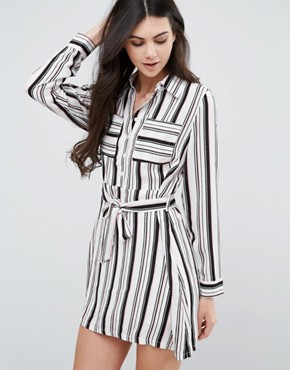 photo Striped Belted Shirt Dress by Love & Other Things, color  - Image 1