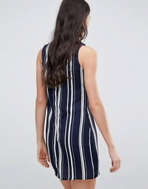 photo V Neck Striped Shift Dress by Love & Other Things, color Navy - Image 2