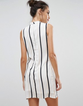 photo V Neck Striped Shift Dress by Love & Other Things, color White - Image 2