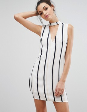 photo V Neck Striped Shift Dress by Love & Other Things, color White - Image 1