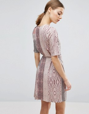 photo Snakeskin Print Wrap Detail Shift Dress by ASOS, color Snake Print - Image 2