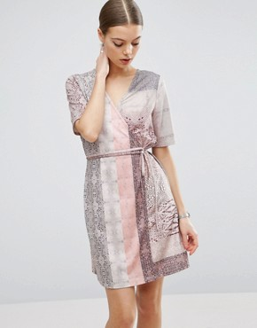 photo Snakeskin Print Wrap Detail Shift Dress by ASOS, color Snake Print - Image 1
