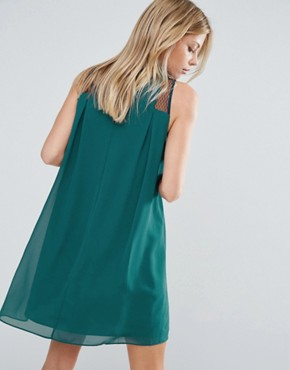 photo Generation Swing Dress with Sheer Panel by BCBG Max Azria, color Green - Image 2
