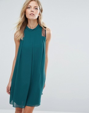 photo Generation Swing Dress with Sheer Panel by BCBG Max Azria, color Green - Image 1