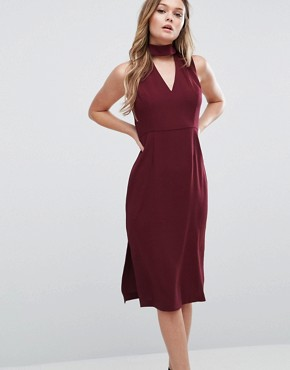 photo Generation Midi Dress with Cut Out Neck by BCBG Max Azria, color Red - Image 1