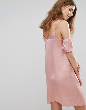 photo Cold Shoulder Slip Dress by Vero Moda Tall, color Pink - Image 2