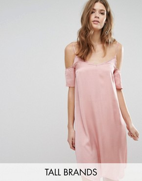 photo Cold Shoulder Slip Dress by Vero Moda Tall, color Pink - Image 1