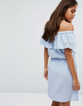 photo Ruffle Off The Shoulder Dress by Vero Moda Tall, color Blue - Image 2