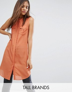 photo Shirt Dress With Utility Pockets by Vero Moda Tall, color Brown - Image 1