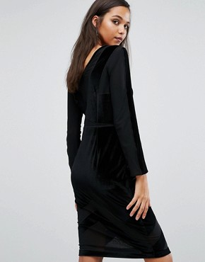 photo Velvet Burnout Dress by Kendall + Kylie, color Black - Image 2
