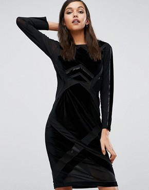 photo Velvet Burnout Dress by Kendall + Kylie, color Black - Image 1