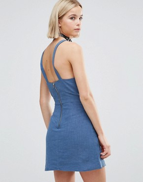 photo Pinafore Dress by Glamorous, color Navy - Image 2