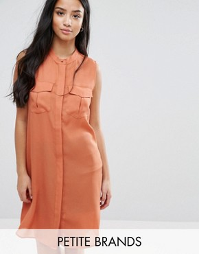 photo Shirt Dress with Utility Pockets by Vero Moda Petite, color Brown - Image 1