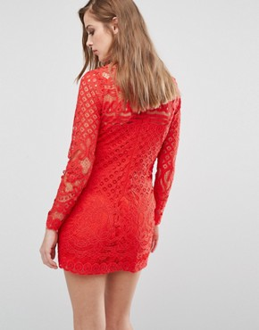 photo Lace Mini Dress by Missguided Maternity, color Red - Image 2