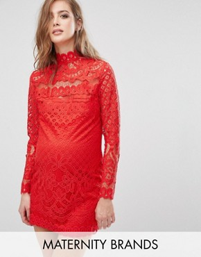 photo Lace Mini Dress by Missguided Maternity, color Red - Image 1