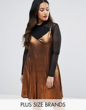 photo Metallic Slip Dress with Lace Detail by Pink Clove, color Bronze - Image 1