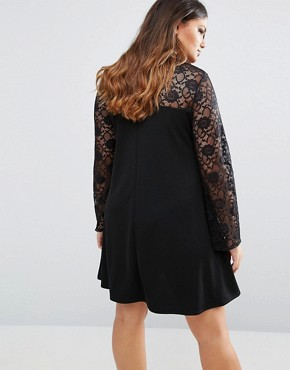 photo Lace Insert Swing Dress by Pink Clove, color Black - Image 2