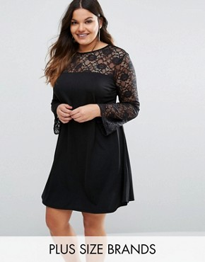 photo Lace Insert Swing Dress by Pink Clove, color Black - Image 1